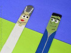 Craft Stick Frankenstein and Bride - CraftsbyAmanda.com