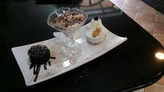 selezioni di dessert: - 7 veli al cioccolato; - tiramisù artigianale; - ricotta e pera.