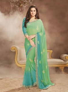 Sea Green Georgette Printed Saree With Blouse 81142