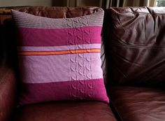 Knitted pure wool cushion cover with stripes by smallflamedesign, £80.00