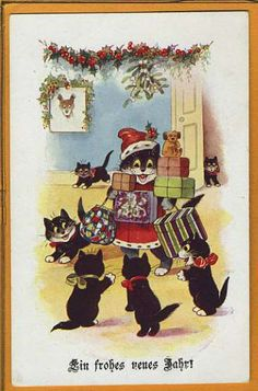 BLACK CAT SANTA Father Christmas w Cats