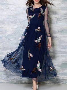 Voile Spliced See-Through High Waisted Dress PURPLISH BLUE: Maxi Dresses | ZAFUL