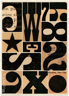 Typographic ephemera Mid Century black geometric by JuliaTrigg
