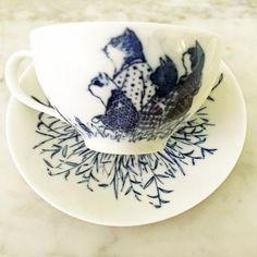 Atsuko Yukawa cup & saucer (bird and cat, blue) - Mimoto Japanese Homewares & Design Meiji Era, Japanese Design, Egg Shells, Cup And Saucer, Tea Cups, Porcelain, Delicate, Ceramics, Bird