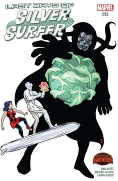 Silver Surfer (2014-) #13: The Last Days- The death of everything that ever was or will be. Time ran out and the Marvel Universe died. From the edge of Battleworld to the outskirts of all infinity, every planet, moon, and star has been expunged. Every life force has been extinguished. There are no survivors...except the Surfer, Dawn, and Toomie. How did they pull this off? And, more importantly, can they figure out a way to bring everything back?