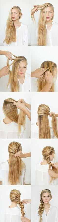 Trendy Long Hair Women's Styles Romantic, messy braid. Hairdo for long and beautiful heiar. Step by step, this tutorial is so clear that made the hairdo super easy. Cute Braided Hairstyles, Romantic Hairstyles, Diy Hairstyles, Pretty Hairstyles, Hairstyle Ideas, Hair Ideas, Hairdos, Wedding Hairstyles, Mermaid Hairstyles