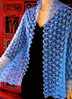 This love knot crochet pattern is updated with a stitch diagram and more, as of September The original edition appeared in the Summer 2013 issue of Interweave Crochet magazine. Crochet Jacket, Crochet Cardigan, Crochet Scarves, Crochet Shawl, Crochet Clothes, Crochet Stitches, Free Crochet, Knit Crochet, Lace Scarf