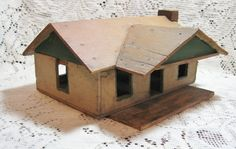 Early Folk Art House or Store made from Wood Cigar Box