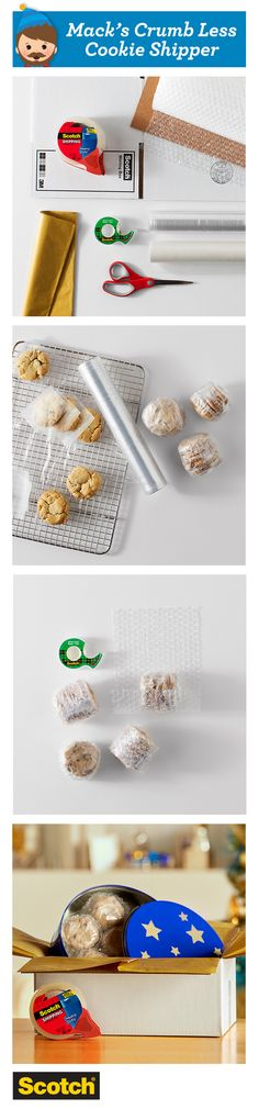 Baked goods like cookies can be tough to ship. Strong, durable Scotch™ Heavy Duty Shipping Packaging Tape is 40x times stronger to withstand rough handling.