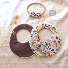 colorful flower bib & baby hairband (スタイ&ヘアバンドセツト) | ハンドメイドマーケット minne