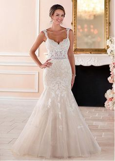 Modest Tulle Sweetheart Neckline See-through Bodice Mermaid Wedding Dresses With Lace Appliques & Beadings