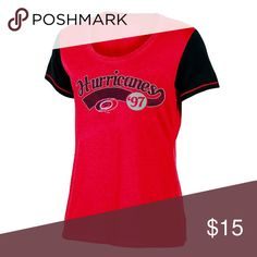 🎅🏻 3/$20 NHL Carolina Hurricanes Women Scoop Tee Look great while supporting your team.  100% Cotton  Soft short sleeve tunic tee with Scoop Neck in primary team color.  Color blocked sleeves in secondary team color. Size:  Large Brand:  Champion Champion Tops Tees - Short Sleeve