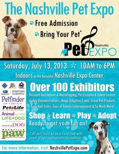 The Nashville Pet Expo 625 Smith Ave, Nashville, Tennessee 37203  Visit Doodlebug Manor at the Expo! We donated a box of toys to help their kitty cats. Say hi to Lara and maybe adopt a new best friend!   INDOORS at Nashville Expo Center with FREE admission and FREE Parking!   https://www.facebook.com/events/408672955869112/