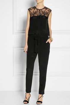 Mason by Michelle Mason | Silk and lace jumpsuit | NET-A-PORTER.COM
