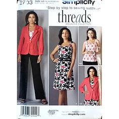 Misses Jacket Pants Dress Simplicity 2703 Pattern 2009 Size 16 18 20 22 24 c1557