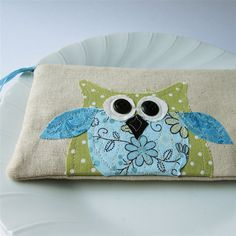 owl personalized pouch with zipper polkadots by mamableudesigns, $29.00..... LOVE IT