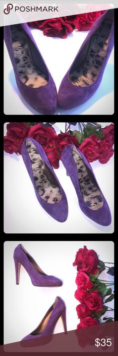 "SAM EDELMAN Purple Suede Pumps, Size 7 These SAM EDELMAN purple suede pumps are a perfect pop of color for any outfit! Includes Suede upper, leather soles, and faux reptile detail. Heel is approximately 4.75"" Make an offer today or bundle to save!! 👠🎁😍🛍🎉 Sam Edelman Shoes Heels"