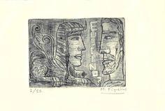 """""""Edipo e a esfinxe"""" Para celebrar o primeiro ano de existencia da Fundación Euseino?, o pintor Manolo Figueiras realizou unha serie de 12 gravados cunha versión do tema de Edipo e a esfinxe. Manolo Figueiras é un dos … First Year, Cunha"""