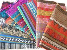 Aztec Fabric, Peruvian Fabric, Woven Fabric Bundle, Sample Pack, 8 Pieces
