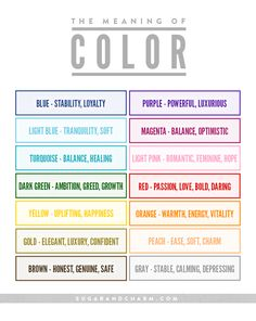 Use this handy meaning of color chart from Sugar and Charm for interior design projects, picking out an outfit or for general color inspiration.