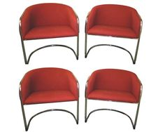 Mid-century modern original Milo Baughman chrome and upholstered chairs - $4895.