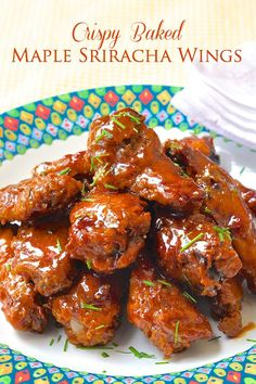 Crispy Baked Maple Sriracha Wings - These crispy wings don't need a deep fryer, they are oven baked to crispy perfection before being tossed in the sweet, sticky, spicy glaze. (scheduled via http://www.tailwindapp.com?utm_source=pinterest&utm_medium=twpin&utm_content=post537189&utm_campaign=scheduler_attribution)