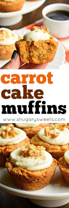 You're going to love eating these Carrot Cake Muffins for breakfast. Especially since they are topped with a cream cheese frosting and walnuts! (frosting recipes for cinnamon rolls) Muffins Blueberry, Carrot Cake Muffins, Zucchini Muffins, Almond Muffins, Carrot Cakes, Egg Muffins, Muffin Tin Recipes, Baking Recipes, Cake Recipes