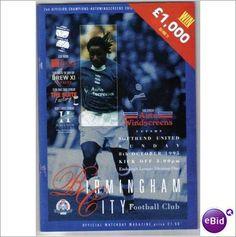 Birmingham City v Southend Utd 08/10/1995 Division 1 Football Programme Sale