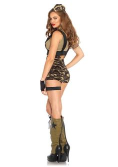 Camo Sexy Bootcamp Halloween Costume Two Way Stretch ~ Slip In~ Great Fit~~ Your booty will be the talk of Halloween when you wear our Camo Sexy Bootcamp costum Army Girl Costumes, Police Halloween Costumes, Character Halloween Costumes, Military Costumes, Adult Costumes, Dance Costumes, Sexy Costumes For Women, Clubwear, Sexy Legs