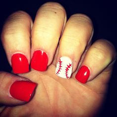Baseball nails :) Super cute! Girls, we might have to do this for the Cubs game! @Kimberely Hall Diehm @Hayley Sheldon March @Lindsay Dillon Troyer @kalyn olson Fischer