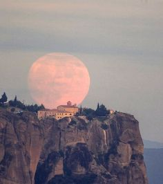 Full moon rising behind Meteora monastery, Greece | by Aimilianos Gkekas