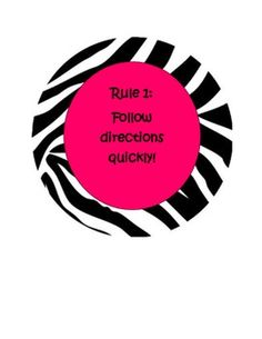 Classroom Rules - Whole Brain - Pink and Zebra
