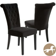 Paulina Black Dining Chair (Set of - contemporary - dining chairs and benches - Great Deal Furniture Tufted Dining Chairs, Tufted Chair, Dining Chair Set, Dining Rooms, Velvet Chairs, Black Dining Room Chairs, Dining Sets, Chair Cushions, Dining Table