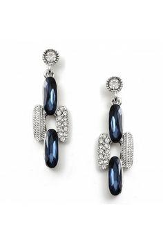 #fashionjewelry #twjonlinestore Rhodium Crystal Rhinestones and Montana Stones Art Deco Earrings