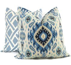 Shades of Blue Ikat Decorative Pillow Cover 18x18 by PopOColor
