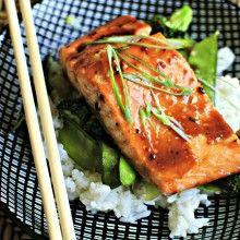 honey teriaki glazed salmon with stir fry veggies