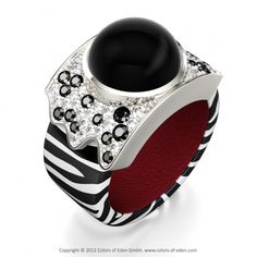 Vision Ring with Round Black Diamonds, Round Diamonds and Round Black Onyx Cabochon in Zebra Black and White Leather and 18k White Gold.