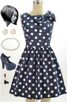 50s Style Navy White Polka Dot Pinup Dress with Bow Neckline Detail | eBay