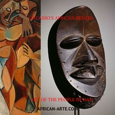 African Art has influenced many — Picasso first encountered ancient African art at the Ethnographic Museum exhibition in Paris. Picasso's African Period, which was three years long, lasted from 1906 to 1909, was the period when Pablo Picasso painted in a style which was strongly influenced by African sculpture and particularly traditional African masks such as the Dan Tribe. #Dan #Liberia #Mask #Gio #Yakuba #Dansociety #art #collection #decor #tribal #vintage #artifacts #africanarte…
