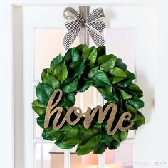 For a year-round statement piece that really brings the chic, add pretty details to a previously-plain magnolia wreath.