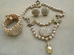 VINTAGE US M. HASKELL signed pearls filigree bracelet necklace earrings SET #MHaskell