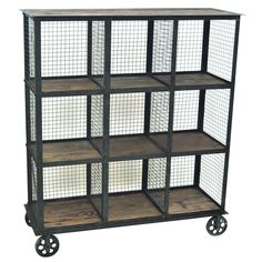 Industrial Metal And Wood Bookcase By Crestview Collection from The Rustic Furniture Store. Saved to Things I want as gifts.
