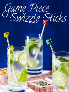Glue old and lost game pieces to dowels to create these cute swizzle stick cocktail stirrers