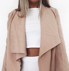 white 2 piece + nude coat