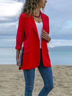 CrazyBegin Womens Suit Blazer Solid Color Lapel Bussiness Jacket Long Sleeve Pocket Shrugs Bolero Cardigan Rose Red M