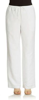 Context Linen Blend Drawstring Pants - Shop for women's Pants - Bleach White Pants