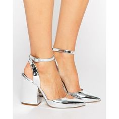 ASOS PICK N MIX Pointed Heels (230 PLN) ❤ liked on Polyvore featuring shoes, pumps, silver, block heel pumps, pointed toe shoes, silver ankle strap pumps, ankle strap pumps and silver metallic pumps
