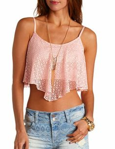Crochet Lace Swing Crop Top: Charlotte Russe