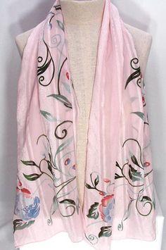 Vintage Anne Klein Pink Floral Scarf