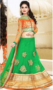Lime Green Color Net Circular Style Designer Wear Lehenga Choli | FH495875975